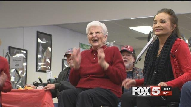 Seniors at Nifty after Fifty in Las Vegas put on their boogie shoes for their holiday party Friday. (FOX5)