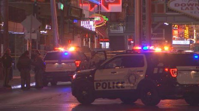 Metro at the scene of a shooting incident on East Fremont Street on Dec. 23, 2017. (Dylan Kendrick/FOX5)