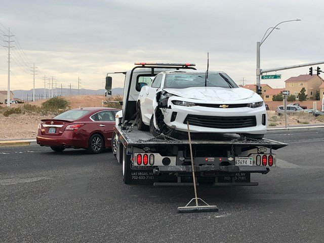Double rollover crash at Decatur Blvd. and Silverado Ranch Blvd Dec. 26, 2017. (Photo: Dylan Kendrick/ FOX5)