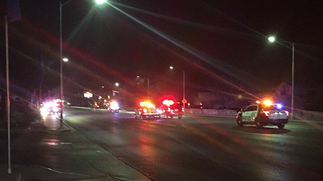 Two were killed and two others were shot near Bonanza and Pecos Wednesday. (Kurt Rempe / FOX5)