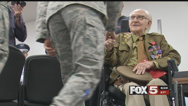 William Grant, a 92-year-old World War II veteran was awarded the Bronze Star Friday in Las Vegas. (Kurt Rempe / FOX5)