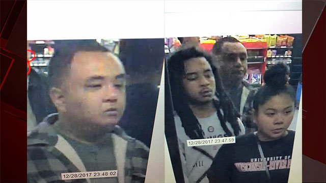 Police released surveillance photos of multiple suspects connected to a violent home invasion and battery (LVMPD / FOX5).