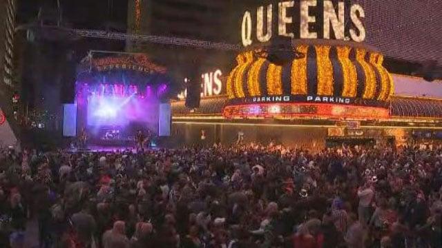 Partygoers celebrate NYE on Fremont Street in Las Vegas. (Gai Phanalasy/FOX5)