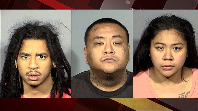 Immanuel Collins (left), Samuel Roaque (center), and Josette Paga were arrested in a home invasion case, Metro said. (Photos: LVMPD)