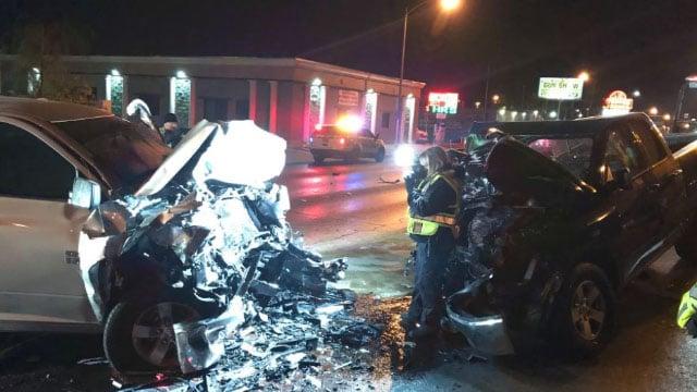Investigators at the scene of a fatal crash in North Las Vegas on Jan. 3, 2018. (NLVPD/Twitter)