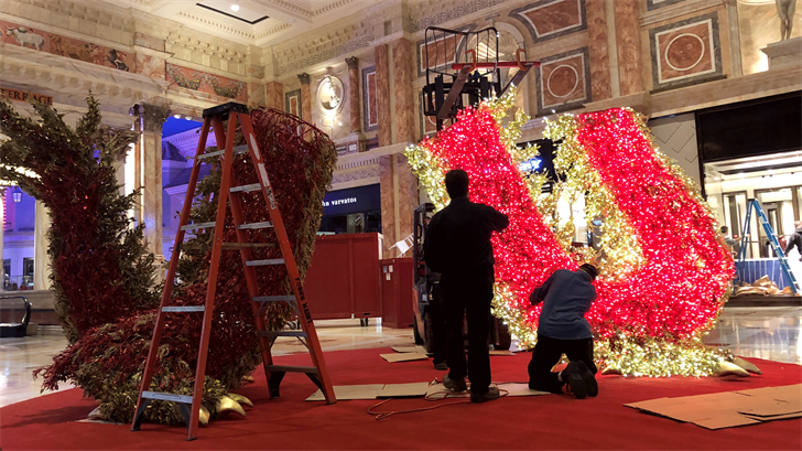 A 22-foot long dragon was installed at The Forum Shops for Chinese New Year. (Mike Doria)