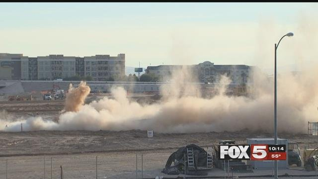 Friday, construction crews were literally breaking ground with a six-week rock blasting project, setting the foundation for the soon-to-be Las Vegas Raiders stadium. (Austin Turner / FOX5)