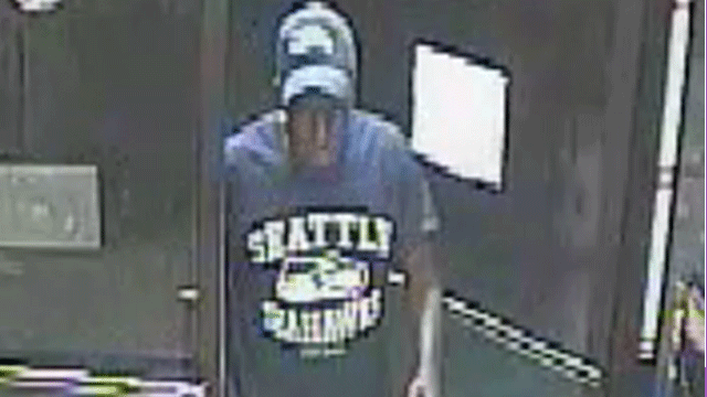 Police said the suspect wore a Seattle Seahawks t-shirt and hat in several of the robberies. (Source: LVMPD)
