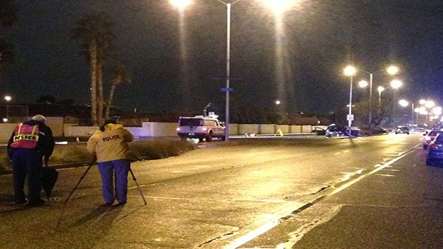 NLVPD investigates the site of a deadly crash Jan. 8, 2018 (Roger Bryner / FOX5).