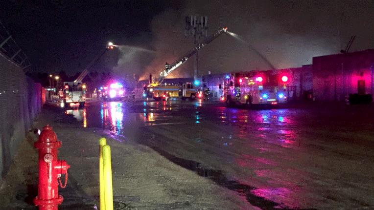 A fire damaged a business near Jones Boulevard and Desert Inn Road on Jan. 8, 2018. (Luis Marquez/FOX5)