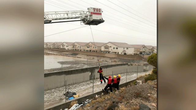 Crews rescued a man from a wash on Jan. 9, 2018. (Source: Henderson fire)