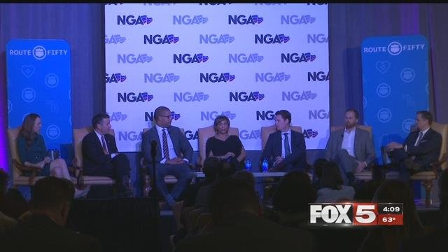Nev. Gov. Brian Sandoval discusses the future of public transportation with tech leaders Jan. 10, 2018 (FOX5).