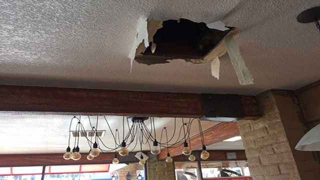 Rain water seeped into Havana Express through the damaged roof (Adam Herbets / FOX5).