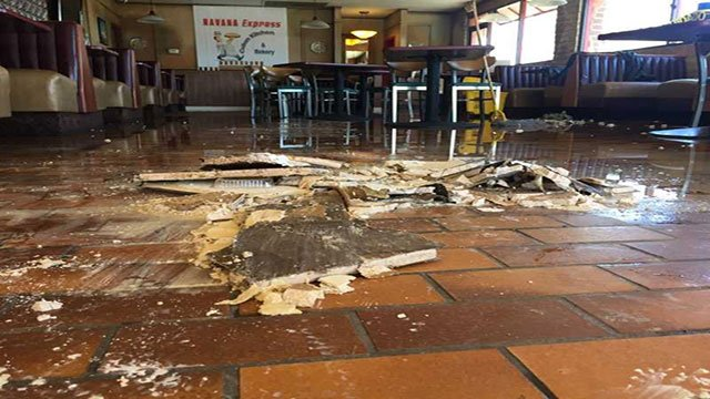 Chunks of the restaurant's ceiling collapsed after a heavy rainfall (Adam Herbets / FOX5).