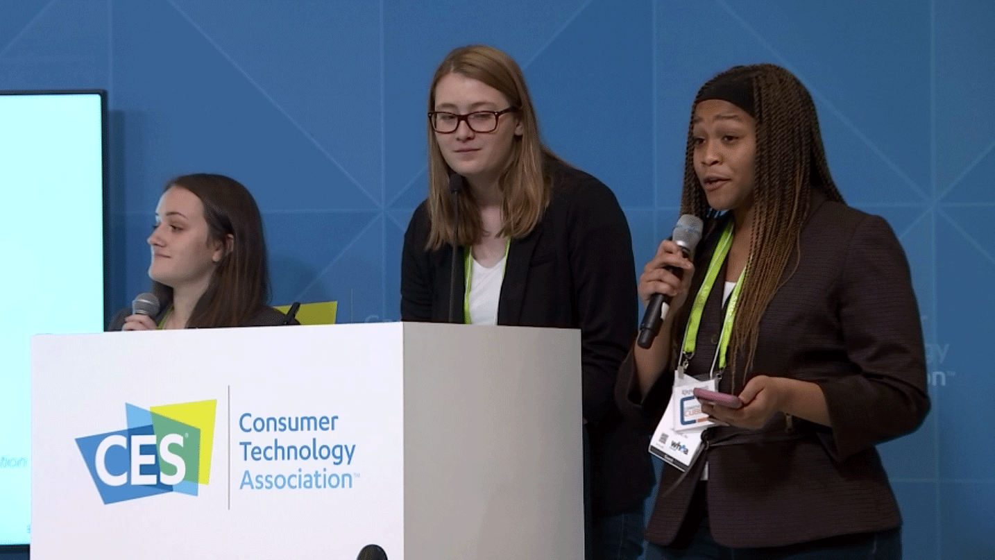 Students pitched their ideas to tech giants at CES on Jan. 12, 2018. (Source: Cyndi Lundeberg)