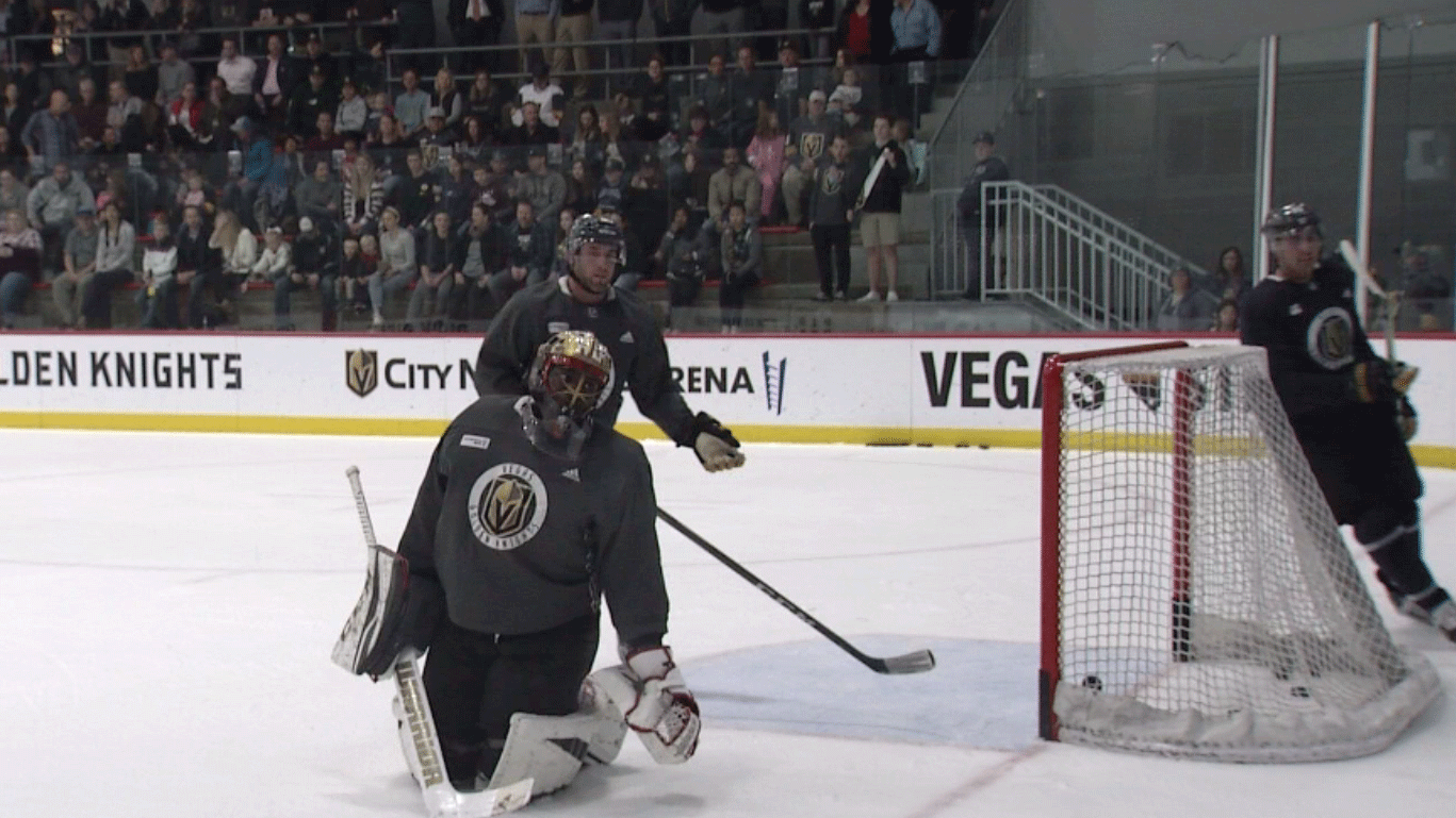 The Vegas Golden Knights shown at practice on Jan. 12, 2018. (Robbie Hunt/FOX5)