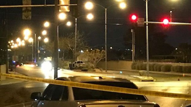 North Las Vegas police at the scene of a fatal shooting on Civic Center Drive on Jan. 14, 2018. (Brad Boyer/FOX5)