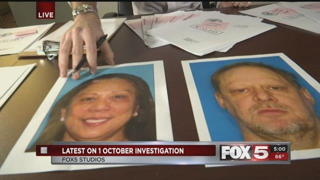 Marilou Danely, left, and mass shooter Stephen Paddock, right, are pictured in undated photos (FOX5).