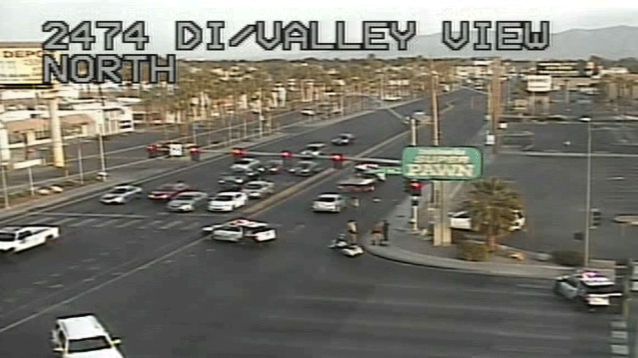 Police investigated a crash near Desert Inn and Valley View on Jan. 16, 2018. (Source: LVACS)