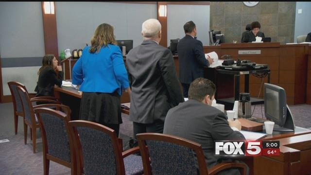 Judge Cadish listens to multiple arguments pertainting to the the release of LVMPD's 1 October search warrant documents Jan. 16, 2018 (FOX5).