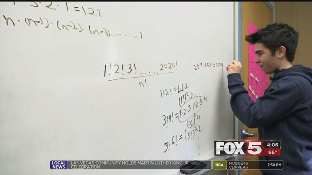 Samuel Goodman works on the complex math problem that led him to win the math competition (FOX5).