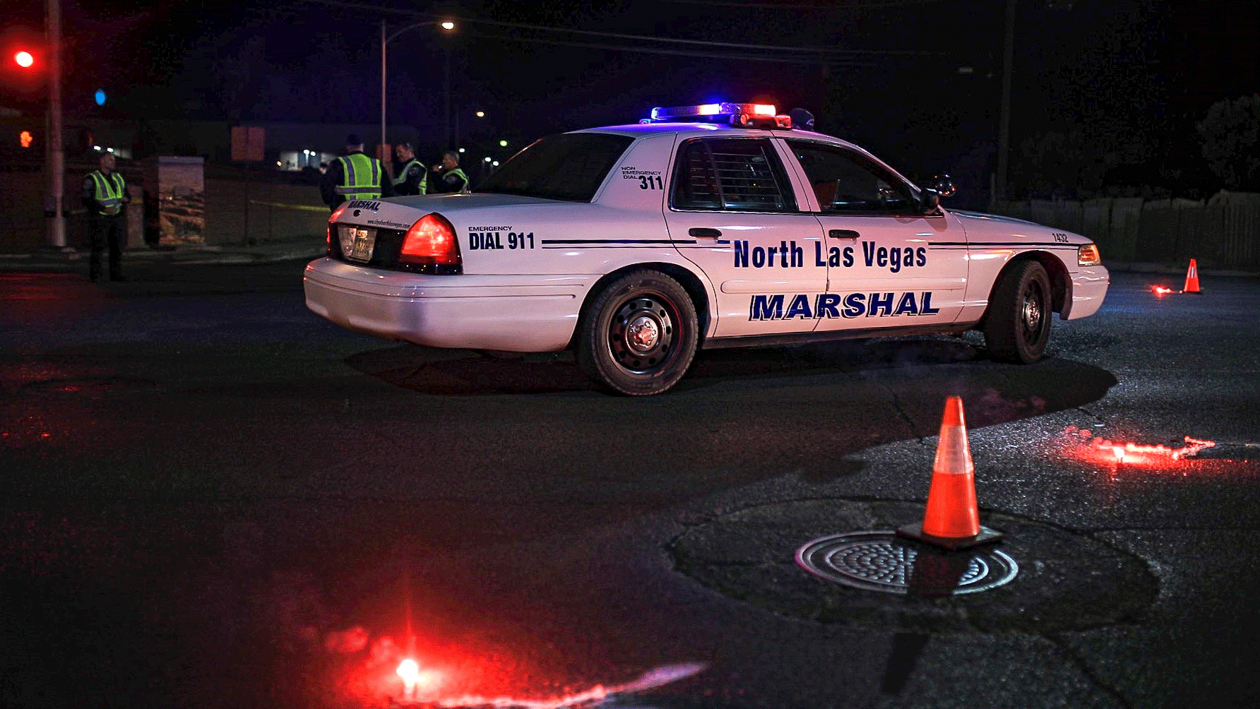 North Las Vegas police are at the scene of a deadly crash on Jan. 18, 2018. (Gai Phanalasy/FOX5)