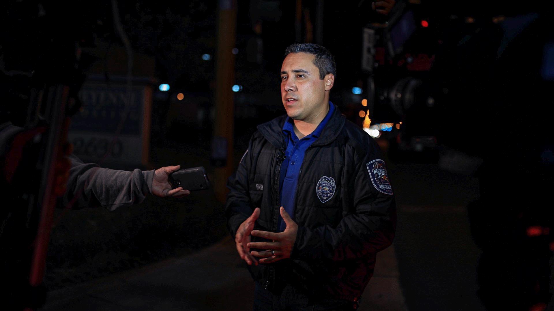 North Las Vegas Public Information Officer Aaron Patty briefs the media on the crash. (Gai Phanalasy/FOX5)