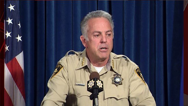 Sheriff Joe Lombardo at 1 Oct. press conference on Jan. 19, 2018 (Jason Westerhaus/FOX5)