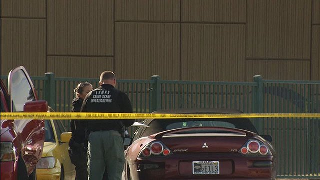 LVMPD crime scene investigators survey the scene of a shooting that left two people dead Jan. 20, 2018 (FOX5)