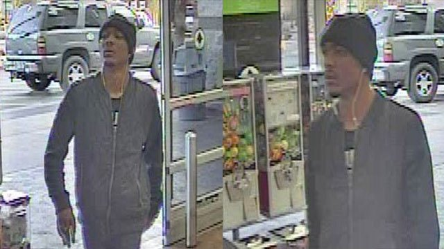 An armed robbery suspect is shown in this surveillance still (LVMPD / FOX5).