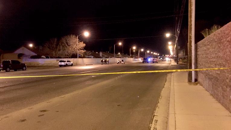 Las Vegas Metro police officers investigate a crash on Jan. 20, 2018. (Jason Westerhaus/FOX5)