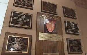 A plaque in the UNLV Tonopah Complex honors Race Salazar, who died suddenly February, 2010