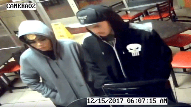 A screenshot shows two burglary suspects wanted by police. (Source: NLVPD)