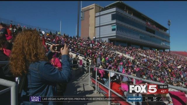 Supporters pack the bleachers at Sam Boyd Stadium for the 2018 Women's March event (FOX5).