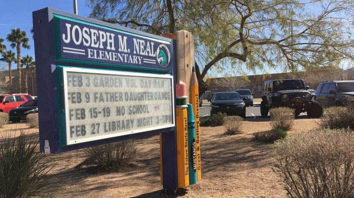 The exterior of Joseph M. Neal Elementary School is shown on Jan. 24, 2018. (Jason Westerhaus/FOX5)