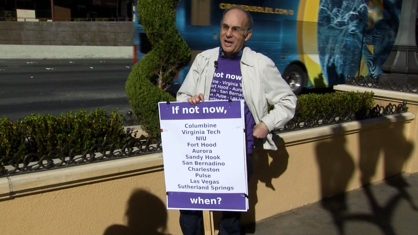 One man protested as the Shot SHow took place in Las Vegas on Jan. 24, 2018. (Adam Herbets/FOX5)