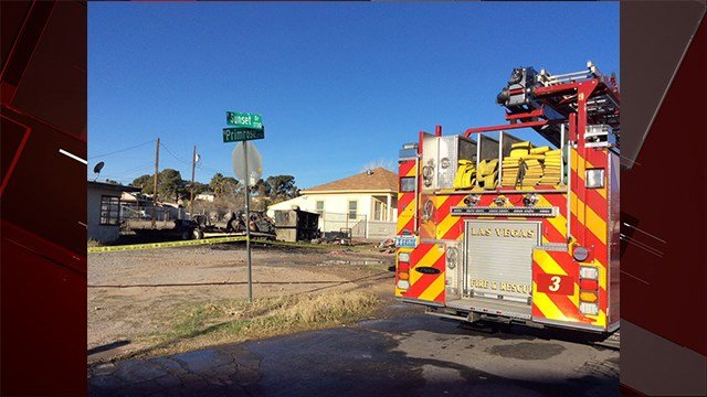 Firefighters discover a dead body in an old RV behind a vacant house in the 1600 block of Primrose Path. Jan. 26, 2018 (Photo: Las Vegas Fire & Rescue)