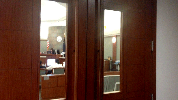A judge is shown behind closed doors. (Source: Las Vegas Courts/Twitter)