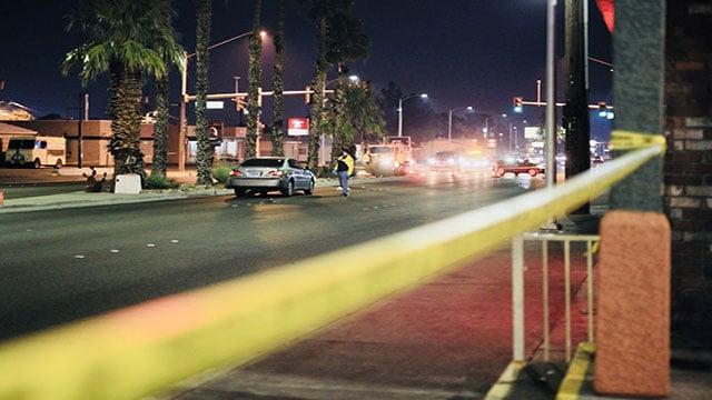 LVMPD officers investigate an auto-pedestrian crash in west Las Vegas (Gai Phanalasy / FOX5).