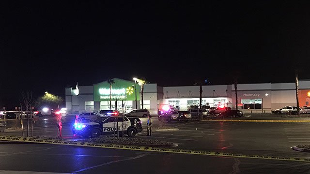 LVMPD units investigate the scene of a shooting in a east Valley Walmart parking lot (Kurt Rempe / FOX5).