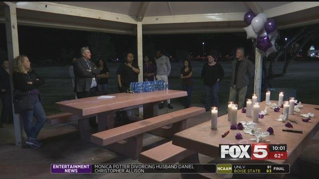 Loved ones gathered at a Las Vegas park to remember the life of Christina Vivas (FOX5).