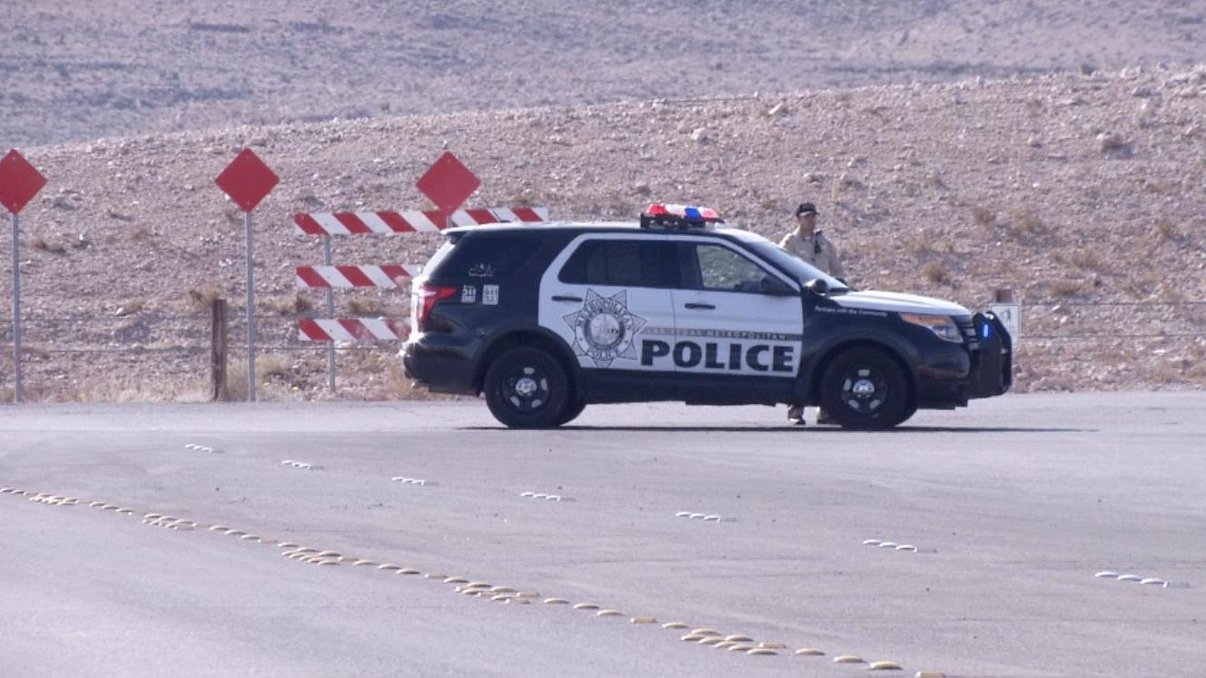 A police vehicle blocks off the roadway near Rainbow and Starr on Feb. 4, 2018. (Source: Cherney Amhara/FOX5)