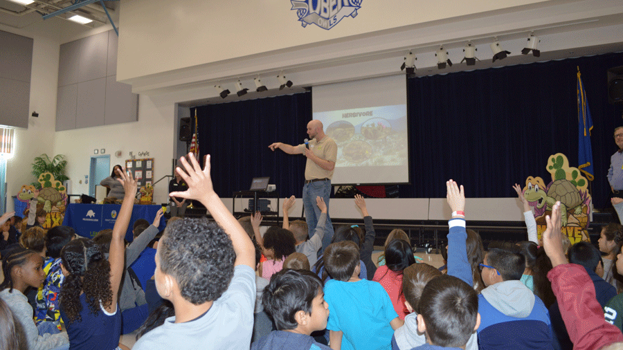 Students at Ober Elementary School learned about desert tortoises on Feb. 6, 2018. (Heather Green/Desert Conservation Program)