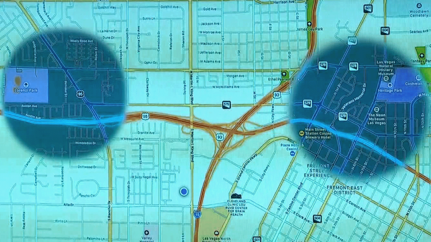 Metro police shared a map of areas of interest in Las Vegas. (Source: LVMPD)