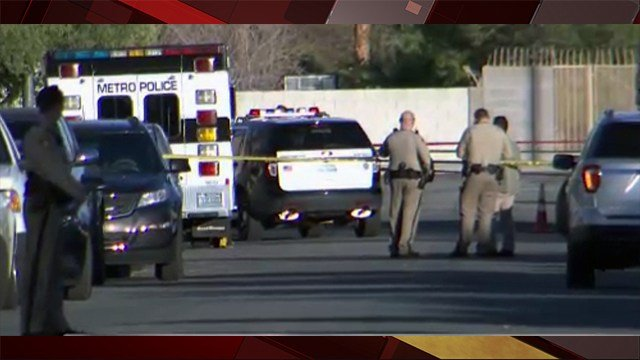 Metro Police investigated an officer-involved shooting in Las Vegas. Feb. 6, 2018 (Photo: Austin Turner/FOX5)