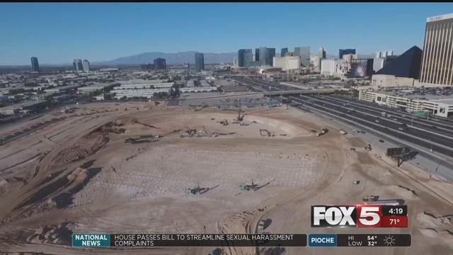 The soon-to-be Las Vegas Raiders stadiumunder construction has seen progress since its ground-breaking. (Photo: Ted Pretty)