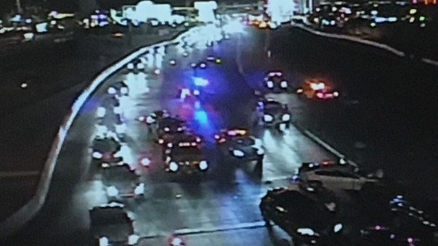 A vehicle, possibly stolen, crashed on the off-ramp from the I-15 to Flamingo Road, and eight other vehicles crashed along with it, according to Nevada Highway Patrol.
