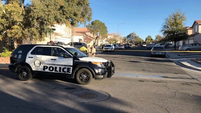 Las Vegas police are investigating a homicide on Feb. 7, 2018. (Brad Boyer/FOX5)