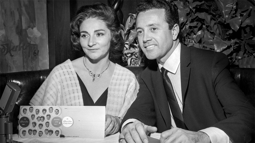 """Actress Pier Angeli, left, and her husband singer Vic Damone are seen during a February 5, 1963, """"Summit at the Sands"""" show at the Sands in Las Vegas. (Las Vegas News Bureau)"""