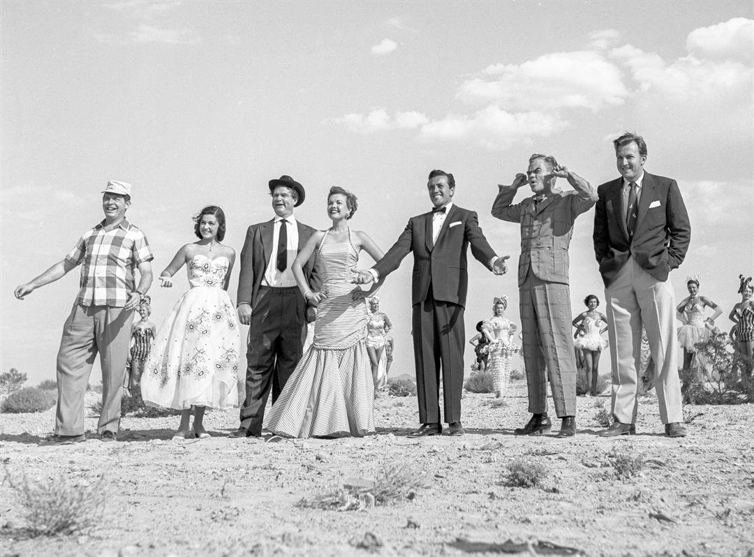 Las Vegas entertainment stars pose for a Colliers Magazine photo shoot on July 21, 1953. From left: Milton Berle, Pier Angeli, Red Skelton, Gale Storm, Vic Damone, Spike Jones and Herb Shriner. (Las Vegas News Bureau)